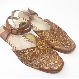 Pikolinos Leather Laser Cut Sandals Size 42